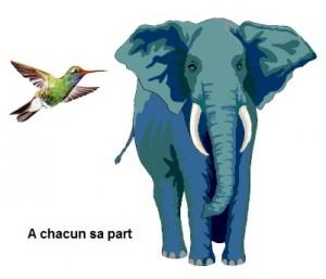 métaphore de l'éléphant et le colibri
