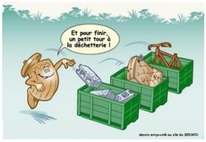 Bennes dans une décchéterie et poubelle triant ses déchets de manière écologique.