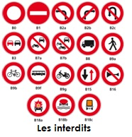 Illustartion des interdits du code de la route