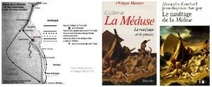 Couverture des livre d'Alexandre Corréard et Jean Baptiste Savigny , et le livre de Philippe Masson ''l'affaire de la Méduse''
