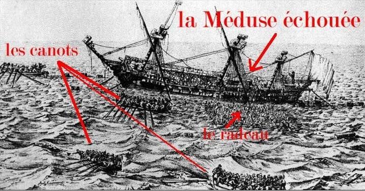 La méduse ensablé, les canots et le radeau
