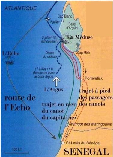 la carte des cotes africaines, à proximité du naufrage